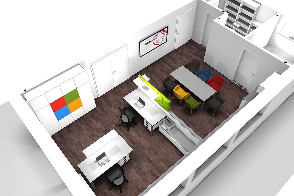 Perspektive eines geplanten Büros mit Besprechungstisch